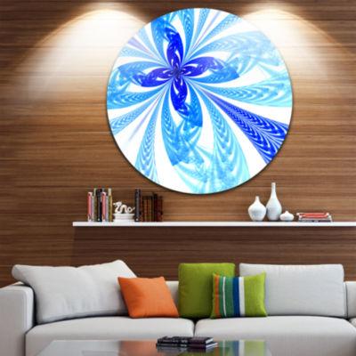 Designart Blue Long Petal Fractal Flower Floral Metal Circle Wall Art