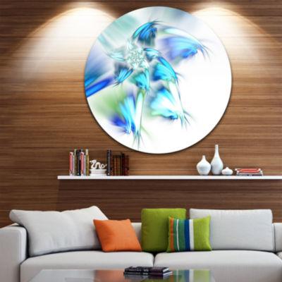 Designart Blue and Green Fractal Flower Floral Metal Circle Wall Art