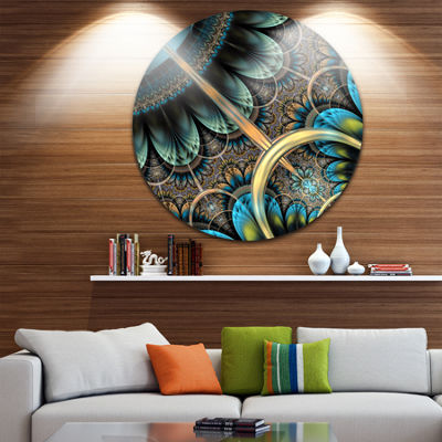 Designart Large Blue Brown Fractal Floral PatternFloral Metal Circle Wall Art
