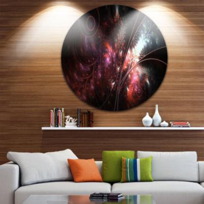 Designart Dark Alien Digital Art Fractal Flower Large Floral Metal Circle Wall Art