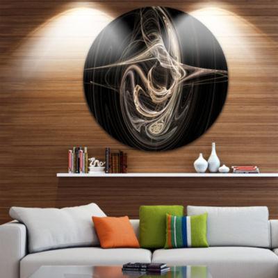 Designart White Abstract Fractal Design in BlackAbstract Metal Circle Wall Art
