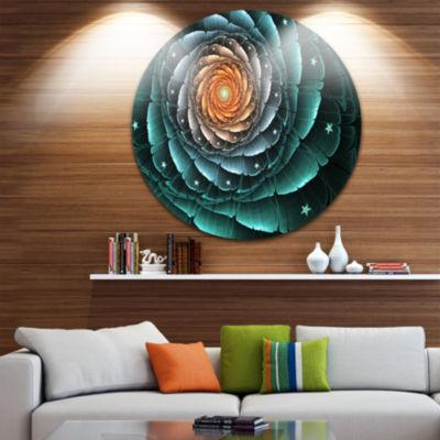 Designart Fractal Flower Turquoise Digital Art Floral Metal Circle Wall Art
