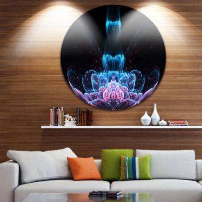 Designart Fractal Flower Blue Purple Digital Art Floral Metal Circle Wall Art
