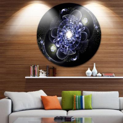 Designart Fractal Flower Bright Blue Digital Art Floral Metal Circle Wall Art