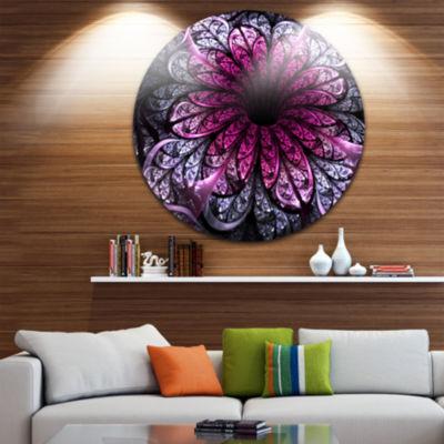 Designart Dark Purple Fractal Flower Digital Art Floral Metal Circle Wall Art