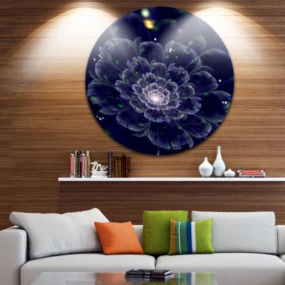 Designart Dark Blue Fractal Flower Digital Art Floral Metal Circle Wall Art