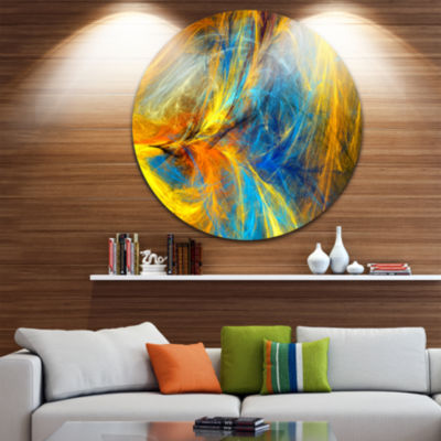 Designart Gold and Blue Psychedelic PatternAbstract Metal Circle Wall Art