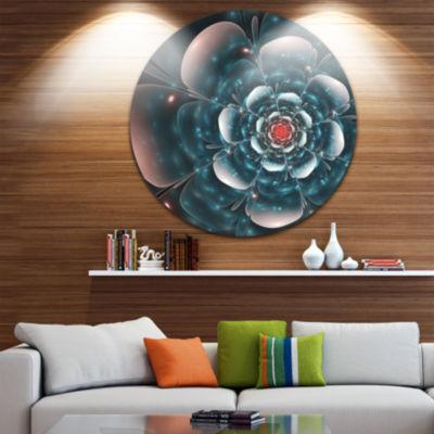 Designart Full Bloom Blue Fractal Flower Floral Metal Circle Wall Art