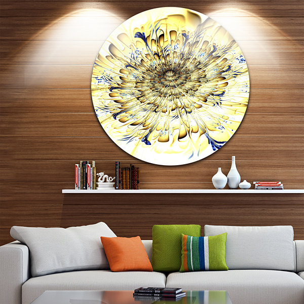 Designart Light Yellow Digital Art Fractal FlowerFloral Metal Circle Wall Art