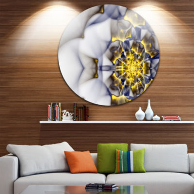 Designart Unique Gold and White Fractal Flower Floral Metal Circle Wall Art