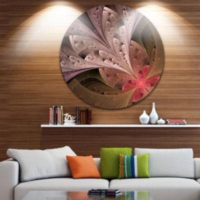 Designart Beautiful Fractal Flower in Beige FloralMetal Circle Wall Art