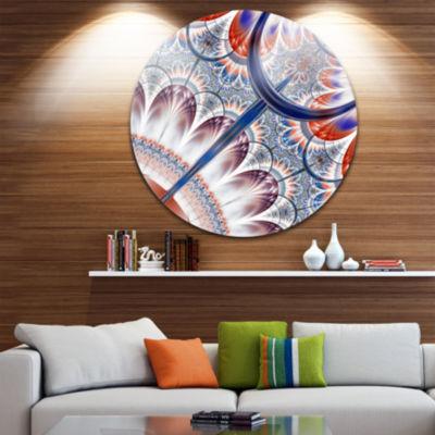 Designart Brown Blue Fractal Flower Pattern FloralMetal Circle Wall Art