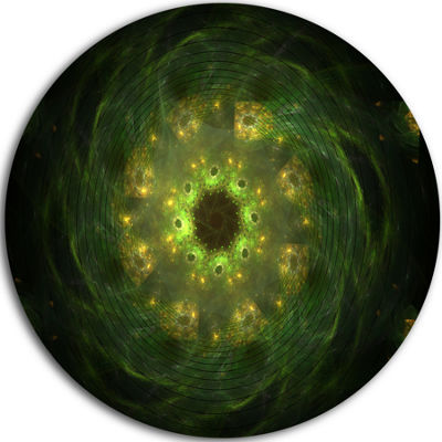 Designart Bright Green Fractal Flower in Black Floral Metal Circle Wall Art
