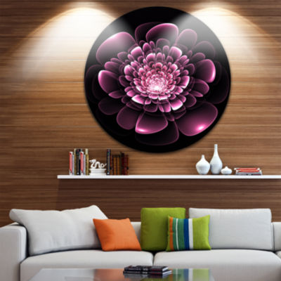 Designart Purple Glossy Typical Fractal Flower Floral Metal Circle Wall Art
