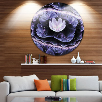 Designart Shiny Fractal Flower with Bokeh Effect Floral Metal Circle Wall Art