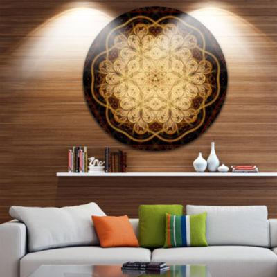Designart Rounded Brown Fractal Flower Floral Metal Circle Wall Art