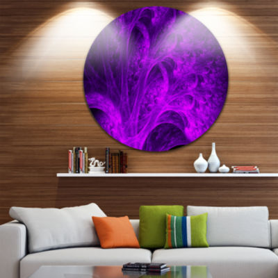 Designart Bright Purple Magical Fractal ForestAbstract Metal Circle Wall Art