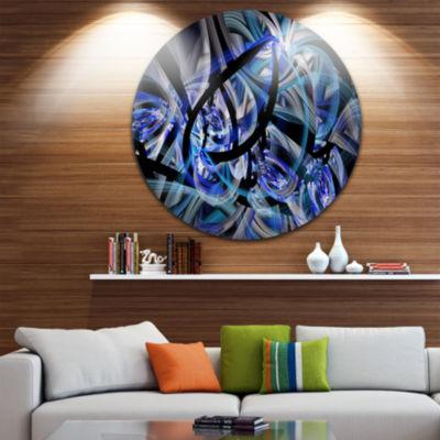 Designart Symmetrical Spiral Blue Flower Floral Metal Circle Wall Art