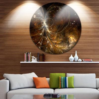 Designart Golden Yellow Digital Art Fractal FlowerFloral Metal Circle Wall Art