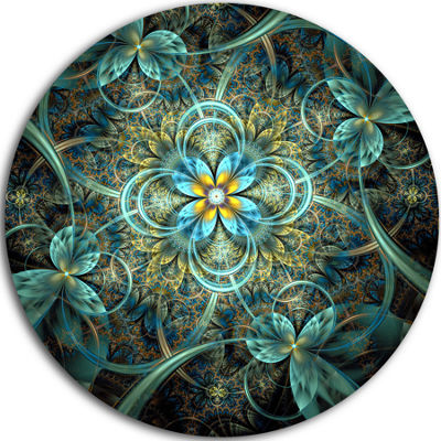Designart Glittering Dark Orange Fractal Flower Floral Metal Circle Wall Art