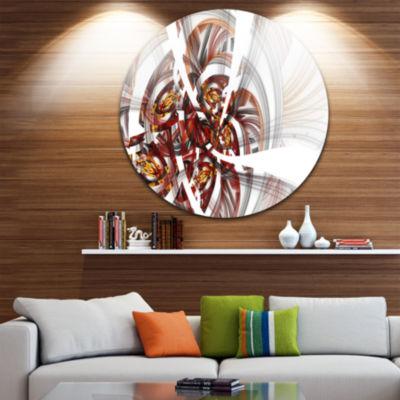 Designart Brown Symmetrical Fractal Flower FloralMetal Circle Wall Art