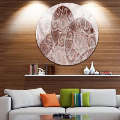Designart Symmetrical Fractal Flower Spiral FloralMetal Circle Wall Art