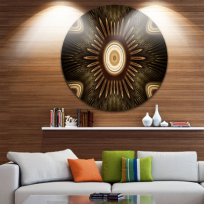 Designart White Brown Rounded Fractal Flower Floral Metal Circle Wall Art