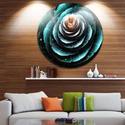 Designart Fractal Flower Clear Turquoise Digital Art Floral Metal Circle Wall Art