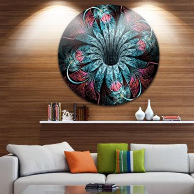 Designart Glittering Dark Fractal Flower Digital Art Floral Metal Circle Wall Art