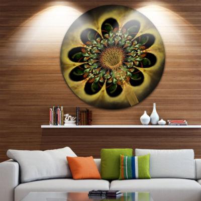 Designart Dark Yellow Flower Rounded Petals FloralMetal Circle Wall Art