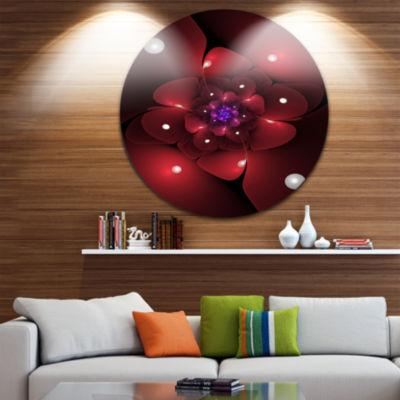 Designart Red Fractal Flower with Illumination Floral Metal Circle Wall Art