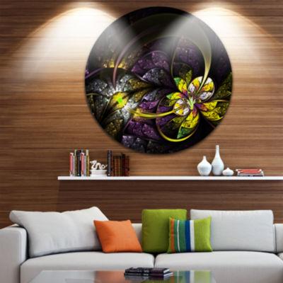 Designart Dark Alien Digital Art Fractal Flower Floral Metal Circle Wall Art
