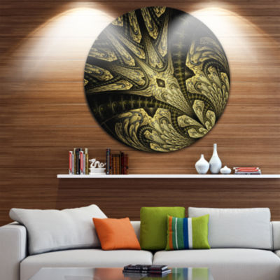 Designart Symmetrical Yellow Long Petal Flower Floral Metal Circle Wall Art