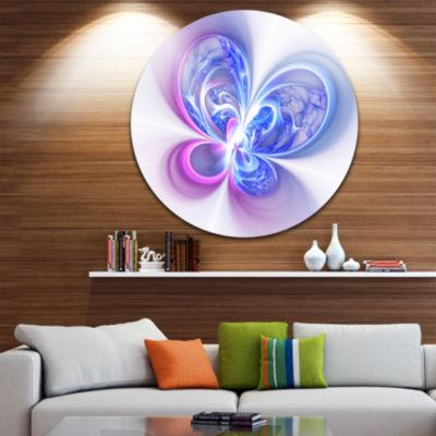 Designart Shiny Purple Blue Digital Fractal FlowerFloral Metal Circle Wall Art