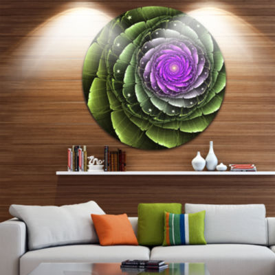 Designart Lush Green and Purple Fractal Flower Floral Metal Circle Wall Art