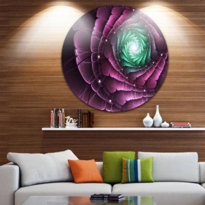 Designart Fractal Flower Green Purple Digital ArtFloral Metal Circle Wall Art