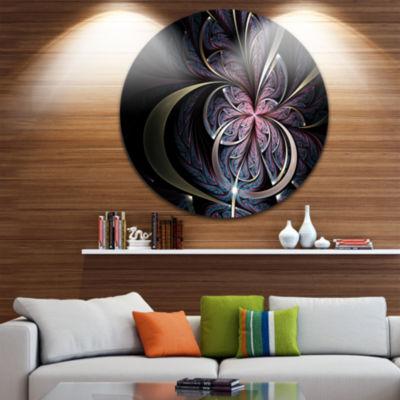 Designart Dark Blue Fractal Butterfly Flower Floral Metal Circle Wall Art