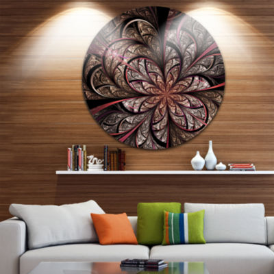 Designart Glowing Large Fractal Flower Design Floral Metal Circle Wall Art