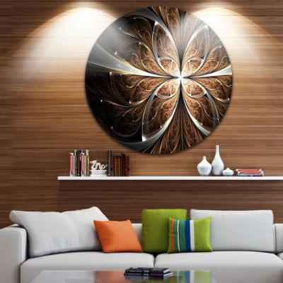 Designart Fractal Flower Brown Black Digital Art Floral Metal Circle Wall Art