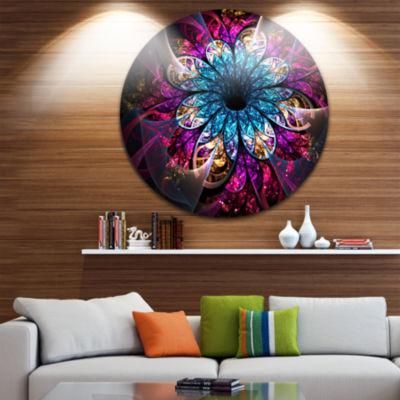Designart Fractal Flower Blue Red Digital Art Large Flower Metal Circle Wall Art