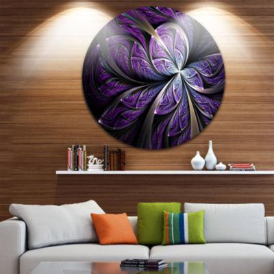 Designart Glittering Purple Fractal Flower FloralMetal Circle Wall Art
