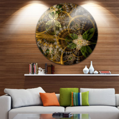 Designart Green Gold Digital Art Fractal Flower Floral Metal Circle Wall Art