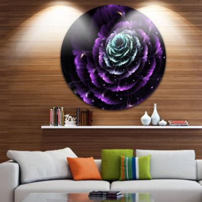Designart Purple Blue Fractal Flower Digital Art Floral Metal Circle Wall Art