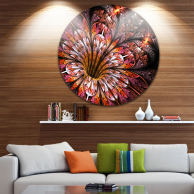 Designart Glittering Light Red Fractal Flower Floral Metal Circle Wall Art