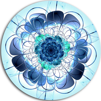 Designart Blue and Purple Rounded Flower Floral Metal Circle Wall Art