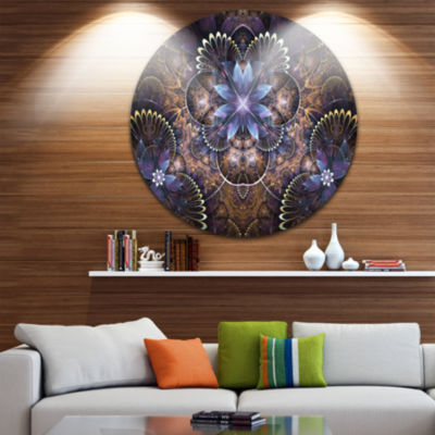 Designart Fractal Glossy Blue Flower Digital Art Floral Metal Circle Wall Art