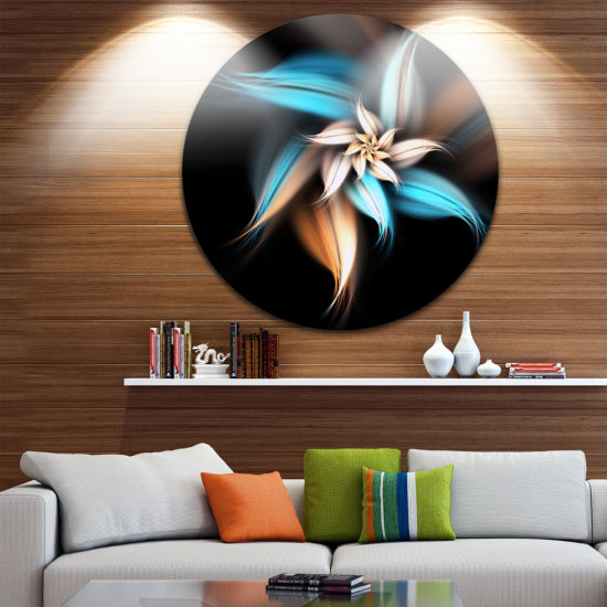 Designart Blue Brown Digital Art Fractal Flower Floral Metal Circle Wall Art