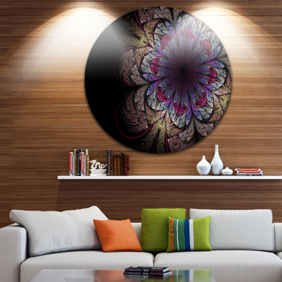 Designart Brown and Blue Soft Fractal Flower Floral Metal Circle Wall Art