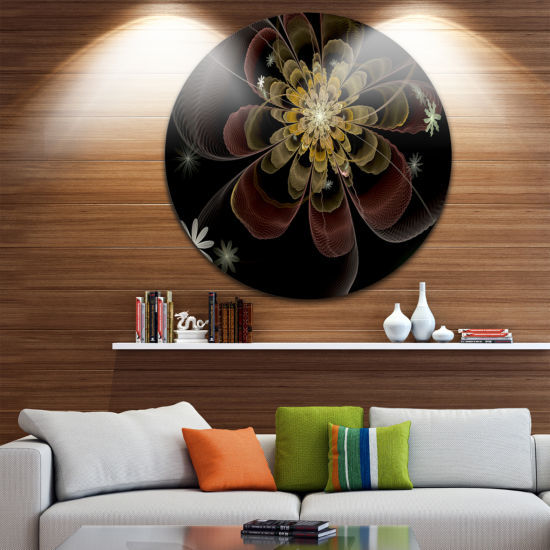 Designart Brown Fractal Flower with Silver stars Floral Metal Circle Wall Art