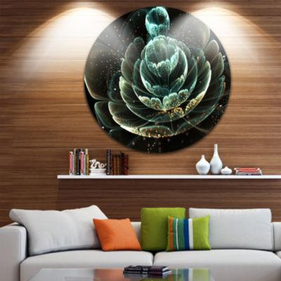 Designart Fractal Flower Light Green Digital Art Floral Metal Circle Wall Art